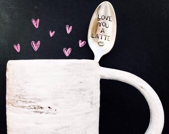 Love you a latte, hand stamped vintage spoon, i love you, coffee lovers, coffee gift, coffee spoon, latte, punny gift