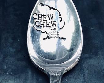 Chew Chew Spoon, train, railroad, choo choo, handstamped vintage spoon, kids gift, tracks, chugga chugga choo choo, train gifts