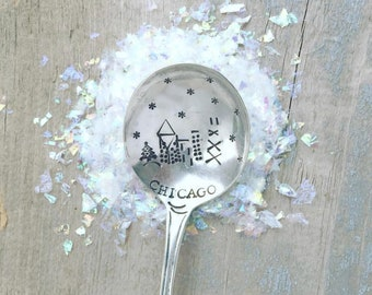 Chicago skyline, Soup Spoon, Hand Stamped Vintage Spoon, chicago, urban, city, Christmastime in the city, holiday, hostess gift, snow globe