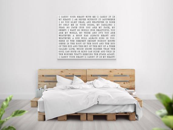 I Carry Your Heart Poem Canvas Art Minimalist Typewriter Art | Etsy
