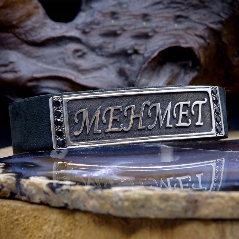Name Bracelet Gift for Her Ideal gift Custom Bracelet Islamic Art Leather Bracelet Gift For Him Personalized Sterling Silver Bracelet