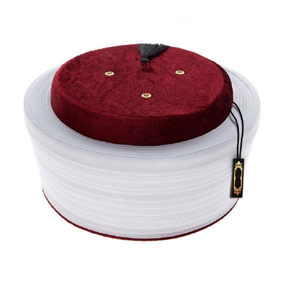 Muslim Mens Wear Satin Imamah Qadeem Sultan Fez Hat Fez imam cap- muslim prayer hat Ottoman Style Sarik Mens Kufi