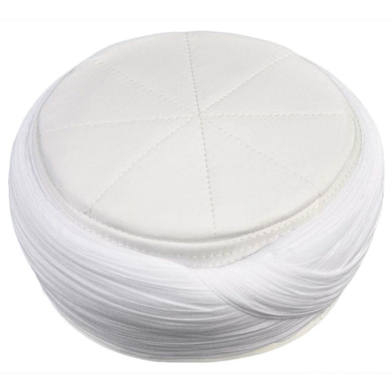 f030e21cf6d2a Hand Made Islamic Prayer Hat White Mens Kufi Cap Sarik image ...