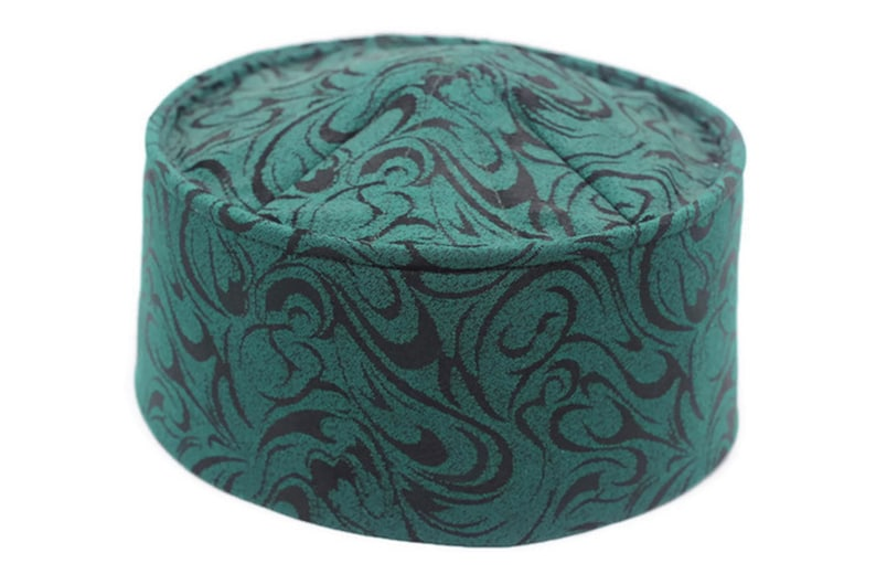 Handmade Rigid Green Muslim Kufi Hat Taqiya Takke Peci Prayer Cap, Turkish  Muslim Islamic Hat Skull Cap