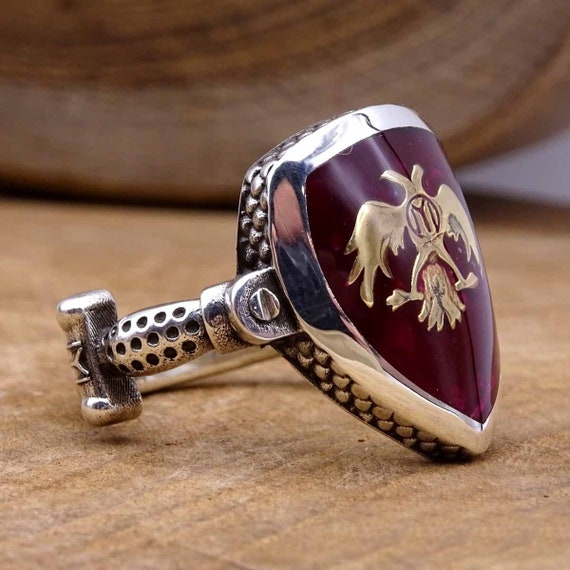 Dirilis Ertugrul Shield Silver Ring, 925 Sterling Silver Mens Ring, Mens  Signet Ring, Authentic Rings, Double Eagle Syombol Ring