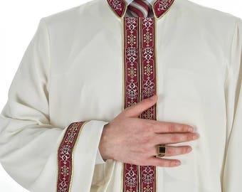 Bursevi Muslim Long Kurta Mens Cream Thobe with Bordures, Jubbah,Galabiyya, Jubbah, Muslim Long Kurta