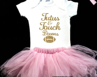 bb29a9b69 Baby Girl Football Outfit Baby Girl Clothes Tutus and Touchdowns baby girl  Superbowl Outfit football baby Girl Superbowl Shirt Girl Outfit