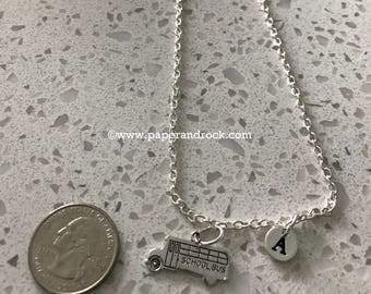 School bus initial necklace, bus jewelry, teacher necklace, school jewelry, gift for teacher, school bus, gift for bus driver necklace