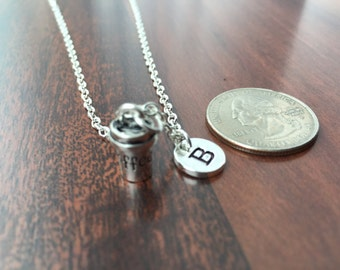 Coffee initial necklace, coffee jewelry, gift for coffee lover, coffee necklace, to go coffee necklace, silver coffee cup necklace