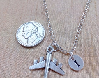 KIDS SIZE - Airplane charm necklace - airplane jewelry, pilot necklace, commercial plane necklace, flight attendant necklace