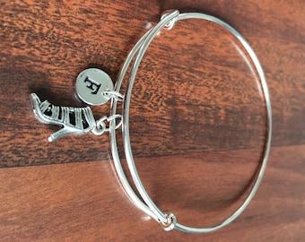 Stiletto initial bracelet, Stiletto High Heel Charm, Shoes charm bracelet, initial bracelet, silver bracelet, antique Jewelry