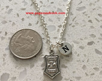 Police badge initial necklace, police jewelry, silver police necklace, police wife necklace, police badge jewelry, silver police charm