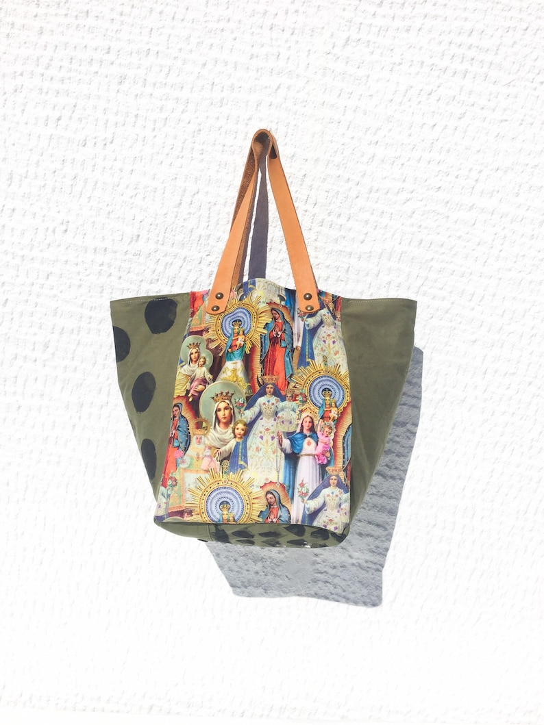 Upcycled Vintage Military Canvas Tote Bag with Virgins Pattern Velvet FabricUnique Hand Painted Tote Bag \u2013 IrMadonna69