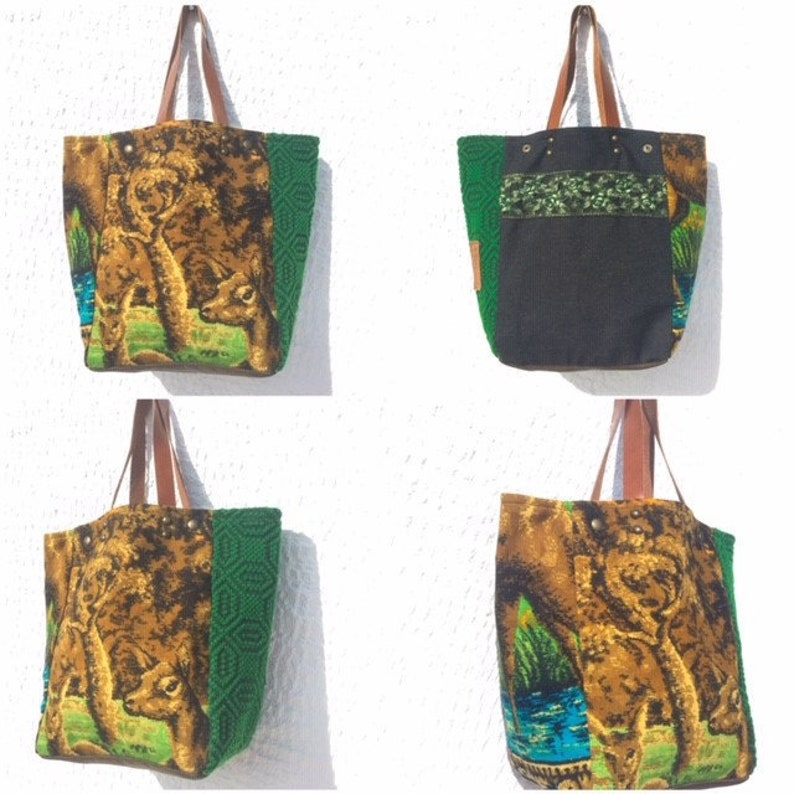 Upcycled Vintage Tapestry Tote Bag Tapestry and Wool Hand Loomed Fabric ToteWildlife Tote Bag IreneTap5