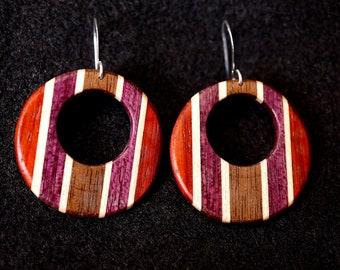 Off Center Circular Earrings, Padauk, Maple, Purple Heart, Black Walnut