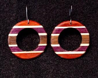 Donut Earrings Horizontal Stripes, Padauk, Maple, Purple Heart, Black Walnut