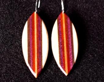 Leaf Shaped Earrings, Maple, Black Walnut, Purple Heart, Padauk, Cherry
