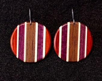 Circular Earrings Vertical Stripes, Padauk, Maple, Purple Heart, Black Walnut