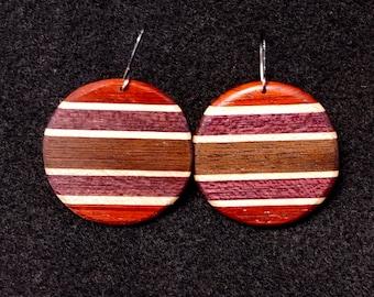 Circular Earrings Horizontal Stripes, Padauk, Maple, Purple Heart, Black Walnut