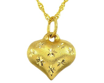14K Yellow Gold Star Engraved Satin Finish Heart Pendant Necklace
