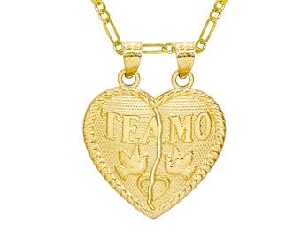 14K Yellow Gold Te Amo Breakable Heart Pendant Necklace