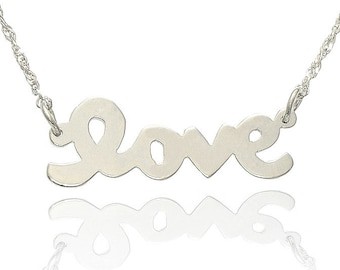 14K White Gold Love Necklace