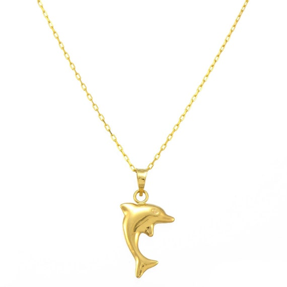 14K Yellow Gold Dolphin Pendant Necklace 0.8 mm Elongated Cable Chain