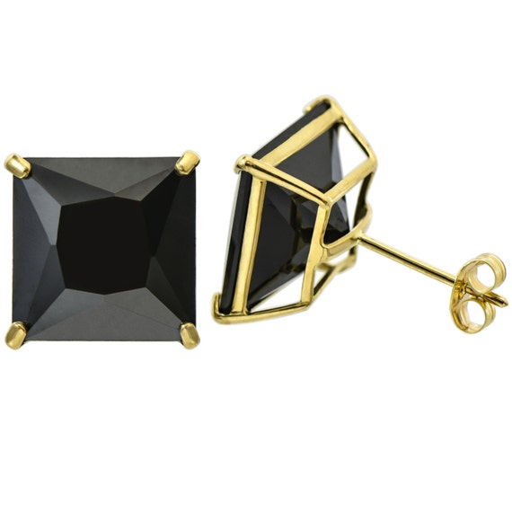 10k Yellow Gold Round Cut Black Spinel Double Basket Push Back Earrings