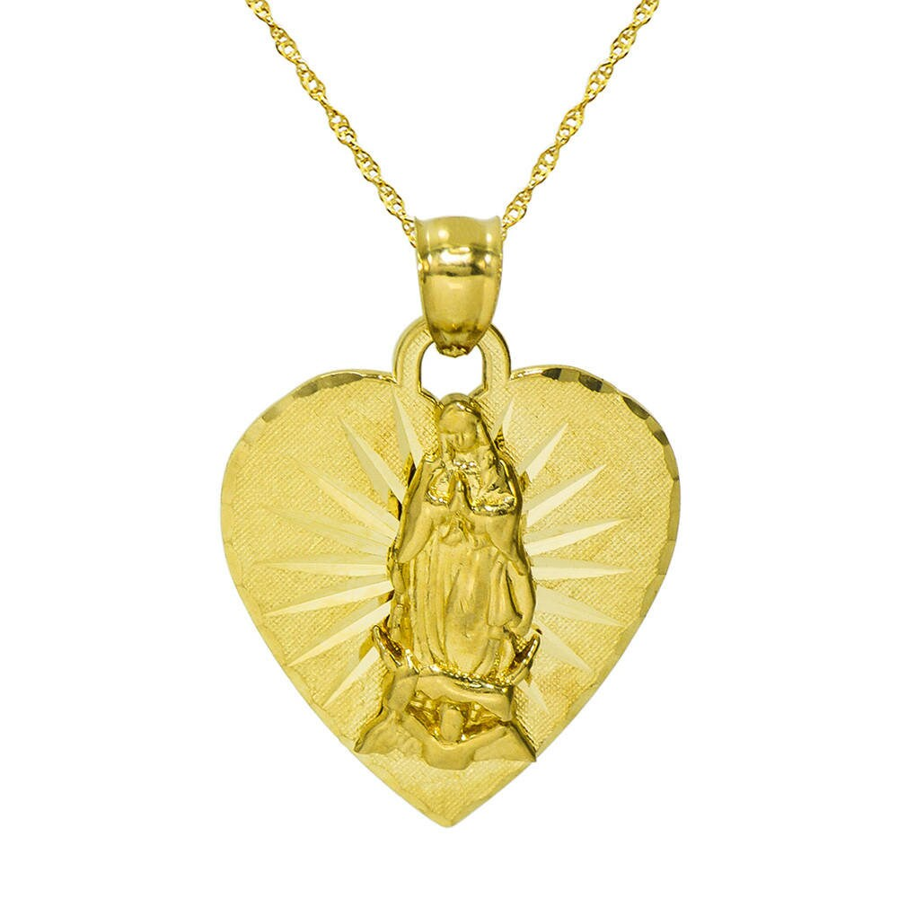 14k Yellow Solid Gold Virgin Mary Guadalupe Medallion Pendant Charm Free Chain