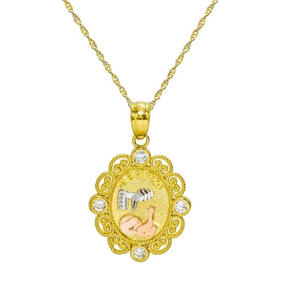14k Tri Color Gold Religious Baptium Stamp Charm Pendant