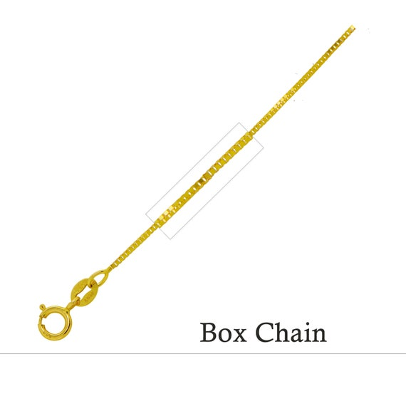 14K Gold BOX Chain Necklace White or Yellow .8mm Italian Made Stamped 14KT