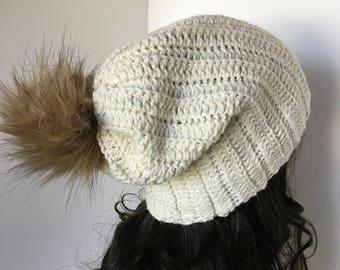 Ribbed Beanie, Faux Fur Pom Pom Beanie,  Women's Crochet Hat, Women's Beanie, Crochet Women's Hat,Winter Hat,Pom Pom Hat, Brimmed Beanie