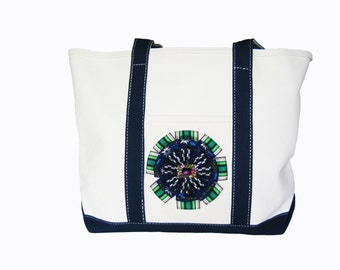 Classic Cotton Canvas Totes Embellished with Stacked Gros~Grain Medallion and Surprise Jewel Topper Style #TB104CO /& #TB104ON
