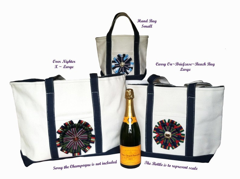 Classic Cotton Canvas Totes Embellished with Stacked Gros~Grain Medallion and Surprise Jewel Topper Style #TB130HB #TB130CO /&  #TB130ON