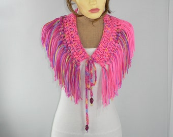 Festival Scarf, Burning Man Costumes, Bubblegum Pink, Rainbow Scarf, Festival Belt, Boho Fringe Scarf, Burning Man Clothing