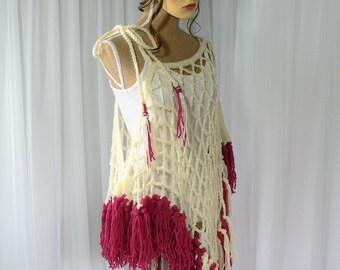 Crochet Festival Top Burning Man Costume Cream Top Bohemian Clothing Burning Man Clothing Crochet Summer Top Fishnet Top