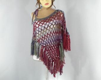 Fringe Poncho, Red Blue Green Pink, Asymetrical Top, Bohemian Clothing, Burning Man Clothing, Festival Top, Crochet Summer Top, Taja