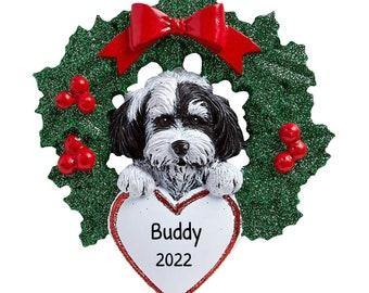 Shih Tzu dog pulling Santa Christmas Ornament Dog Lover Gift Wooden Ornament