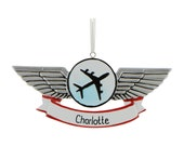 Personalized Airplane Wings Ornament Airplane Christmas Ornament Flight Ornament Pilot Gift Personalized Ornament Airplane Gift