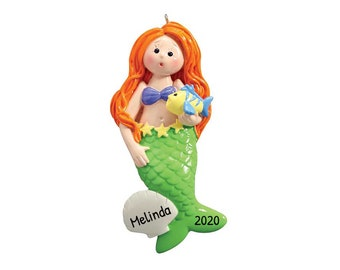 Personalized Mermaid Ornament, Mermaid Christmas Ornament, Custom Princess Mermaid Ornament, Ariel Ornament with Name, Gift for Little Girls