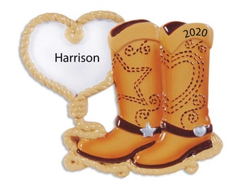 Personalized Boots Ornament, Cowgirl Christmas Ornament, Custom Cowboy Ornament, Cowboy Ornament, Cowgirls Gift, Cowgirl Boots, Western Life