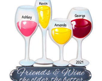 Personalized Wine Ornament, Wine Glass Christmas Ornament, Custom Bottle Ornament with Name, Gift for Wine Lovers, Friend and Wine Christmas