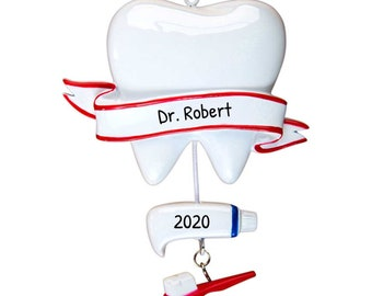Personalized Dentist Ornament, Dentist Christmas Ornament, Custom Dental Ornament with Name, Dentist Gift, Hygienist, Doctor, Tooth, Medical