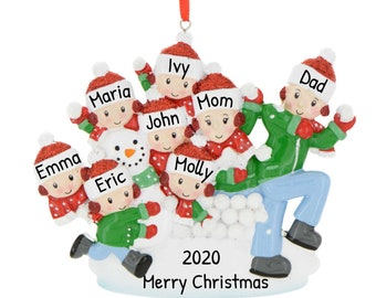 Personalized Family of 8 in Snowball Fight, Family Christmas Ornament, Custom Family Ornament, Family Ornament with Name, Family Fun Gifts