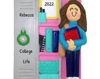 Personalized Dorm Ornament, College Christmas Ornament, Custom College Girl Ornament, Student Ornament with Name, Gifts for Brunette Girl