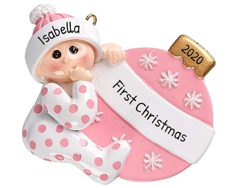 Personalized Baby Girl Ornament, Baby's 1st Christmas Ornament, Newborn Ornament, Pregnancy Gift, Expecting Ornament, Baby Shower Gift, Pink