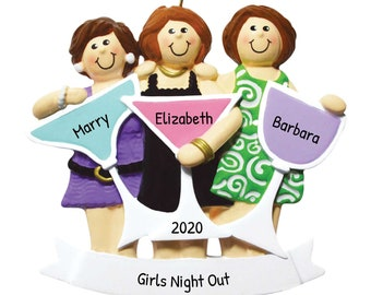 Personalized Girls-Night-Out Three Christmas Ornament, Brunette Ladyies Night Ornament, Custom Name Ornament, Year Ornament, Girls Ornaments