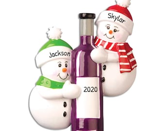 Personalized Wine Bottle Couple Ornament, Wine Couple Christmas Ornament, Custom Couple Ornament,Gift for Couple, First Christmas,Wine Lover