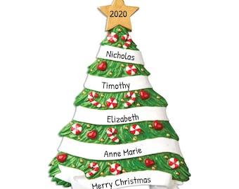 "Personalized Grandparents Ornament, Grandchildren Christmas Ornament, Custom Grandma's Family Tree Ornament, Gift from Grandkids 5.25""x3.5"""