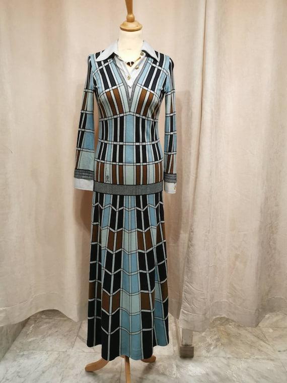 CAMERINO CAMERINO long dress vintage 1970 trompe l